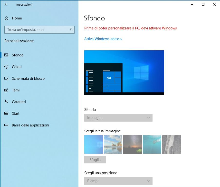 Sfondo windows 10