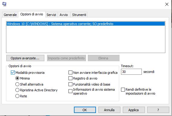 Avviare Windows 10 in modalità provvisoria