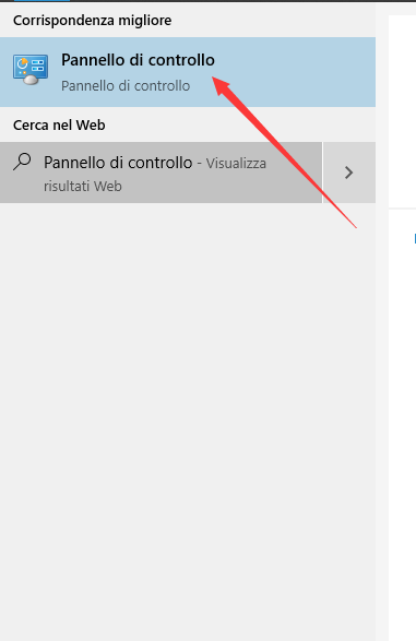 pannello di controllo su Windows 10