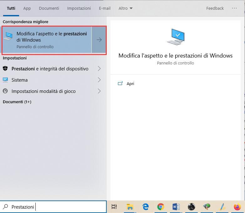 Modifica l'aspetto e le prestazioni di Windows