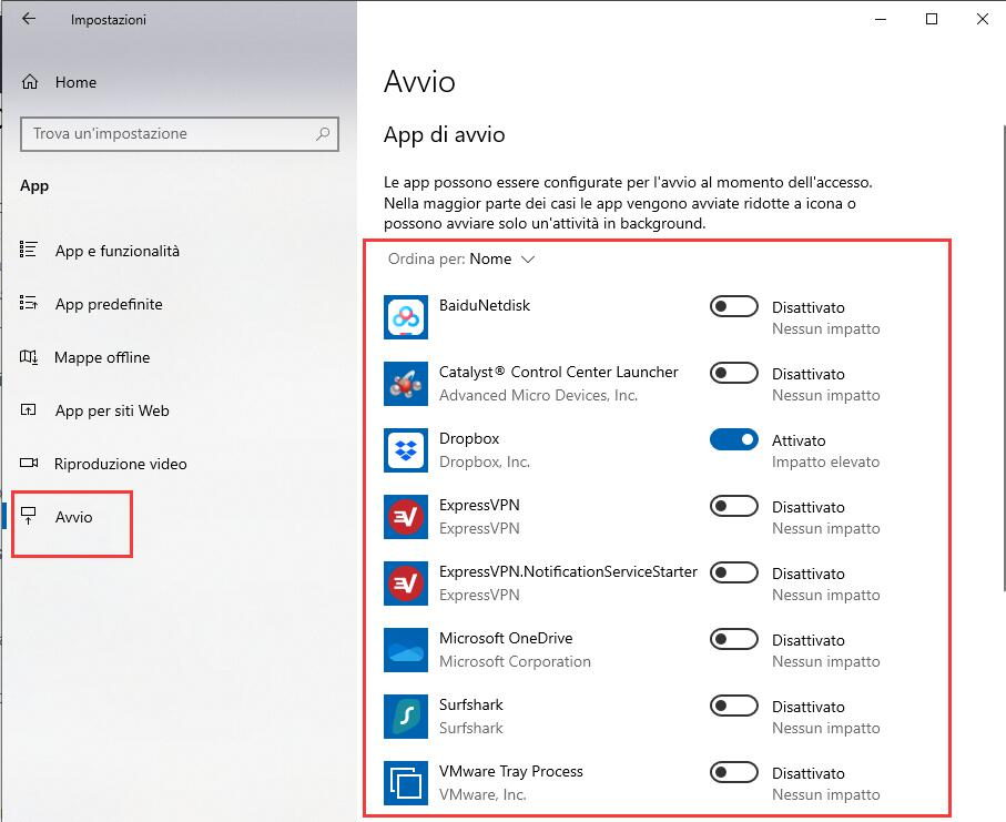 programmi all'avvio in Windows 10